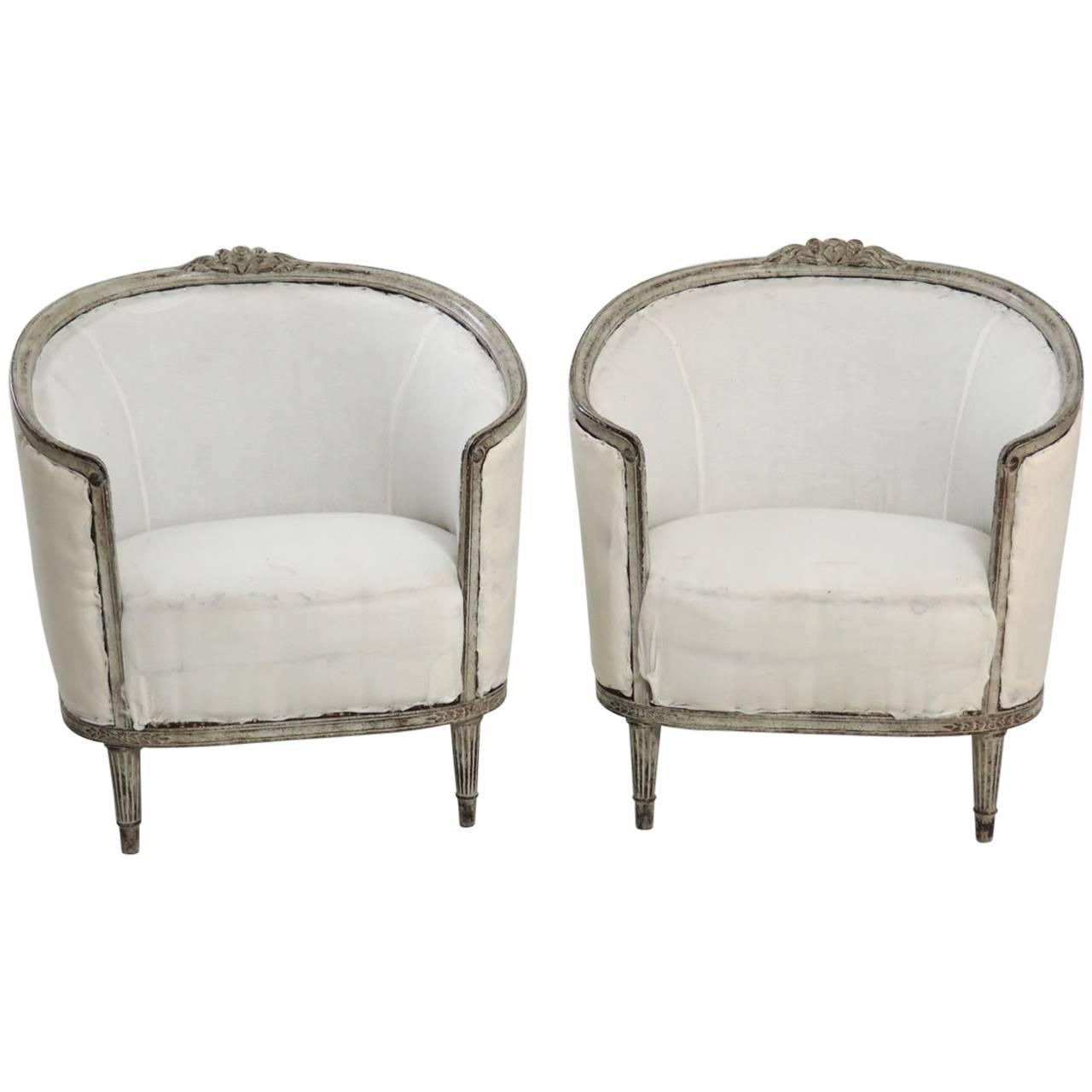19th Century Pair Of Swedish Gustavian Style Barrel Back Bergere Chairs Maison Co