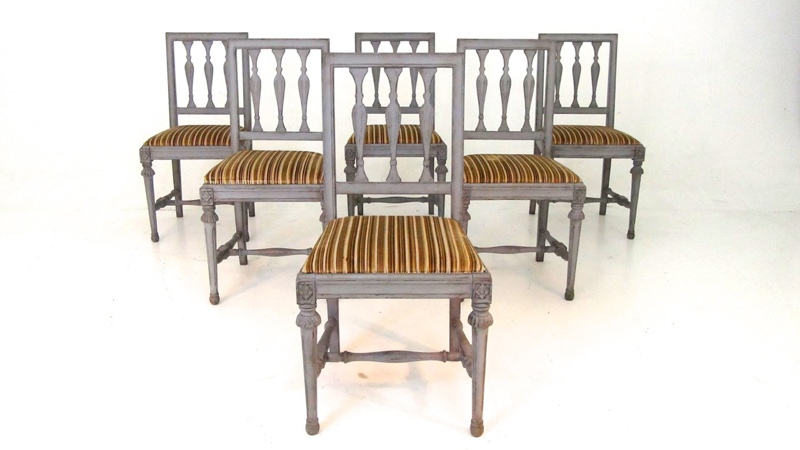 Set Of Six Swedish Gustavian Style Dining Chairs